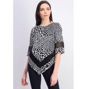 Alfani Printed Crochet-Trim Top Animalia LP NWT